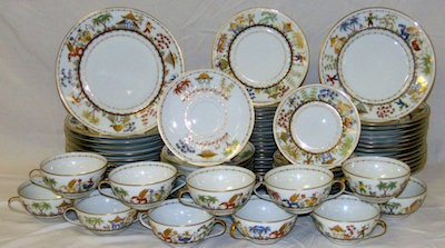 Gorgeous 81-piece Tiffany & Company china set in the Cirque Chinois pattern, in excellent condition and of French private stock, Le Tallec ($16,675).