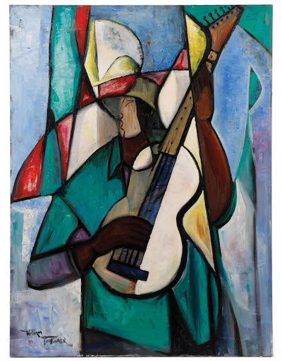 Original oil painting by the renowned African-American artist William Tolliver (La./Miss., 1951-2000), titled Guitar Player in Green (est. $8,000-$12,000).