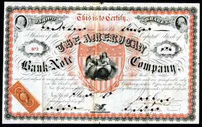 American Bank Note Company 1868 stock certificate rarity.