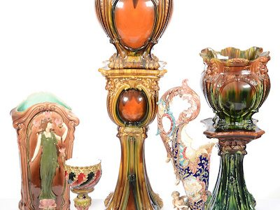 A SINGLE-OWNER MAJOLICA COLLECTION, PLUS AN ESTATE OUT OF WICHITA AND FOUR SMALLER COLLECTIONS, WILL HIGHLIGHT WOODY AUCTION'S AUG. 27 SALE