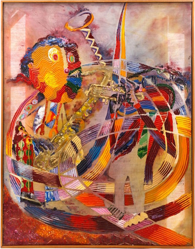 Original painting by the African-American artist Wadsworth Jarrell (b. 1929) of jazz greats Charlie Parker and Dizzie Gillespie, titled Diz E Bird ($21,240).