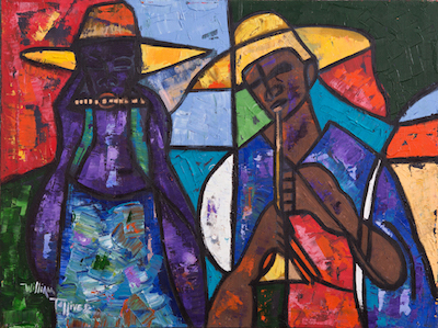 Lot 375: Original painting by William Tolliver (La., 1951-2000), an artist-signed oil on canvas titled African Musician, 30 inches by 40 inches (est. $6,000-$9,000).