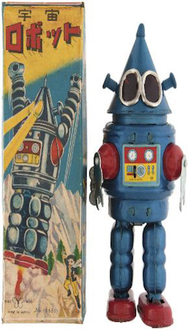 1967 Yonezawa Conehead Robot with extraordinarily rare original box, est. $5,000-$20,000 Image courtesy of Hake's Americana