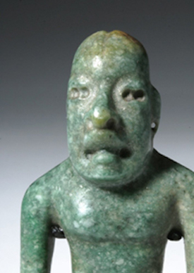 Important Olmec (southern Mexico/Guatemala) blue-green jade were-jaguar figure, circa 900-500 BCE, est. $15,000-$20,000   image courtesy Artemis Gallery