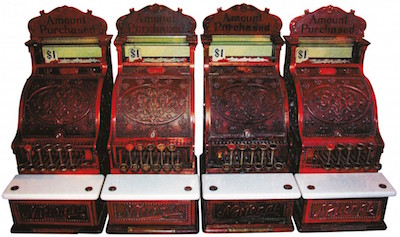 "Set of four ""consecutively numbered"" National Candy Store cash registers"