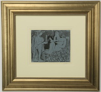 Lot 577: Pablo Picasso linocut on paper titled Two Women, artist signed in pencil 'Picasso' at lower right, 30 inches by 32 inches including frame.