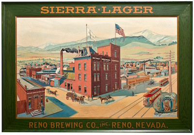 An expected top lot from the beer category is this Reno Brewing Company tin sign, circa 1900, 26 inches by 33 inches, framed (est. $7,500-$15,000).
