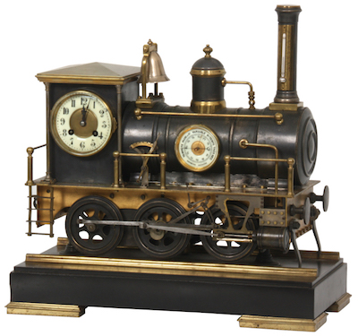 Bronze animated European locomotive industrial clock, boasting an excellent bronze case in the form of a steam locomotive, on a black marble base (est. $20,000-$30,000).