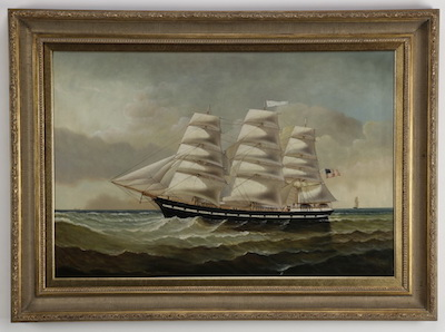 D. Tayler oil on canvas of a three-masted clipper ship at sea