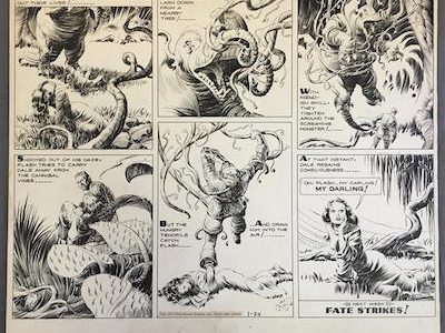 ORIGINAL SUNDAY PAGE ARTWORK FOR THE FLASH GORDON COMIC STRIP, DONE IN 1937 BY ALEX RAYMOND (1909-1956) REALIZES $60,375