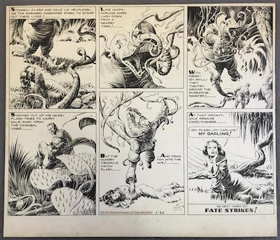 Original Sunday page artwork for the Flash Gordon comic strip, done by the illustrator Alex Raymond (1909-1956) and dated 1/24/1937 ($60,375).