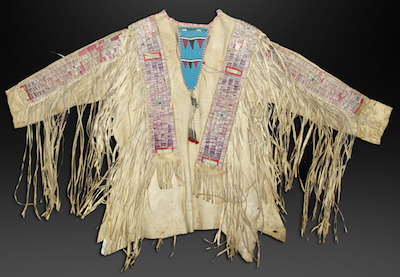 Historic, late 19th century Northern Plains all-buckskin war shirt with wide quilled sleeves and body strips with traditional geometrics ($20,000).