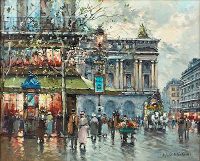 Parisian street scene by the French painter Antoine Blanchard (1910-1988), titled L'Avenue de l'Opera (est. $4,000-$6,000).