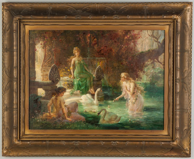 Painting by Hans Zatzka (Austrian, 1858-1945), of three women near a pool, feeding swans.