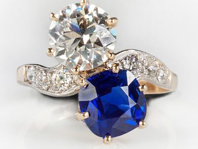 SPECTACULAR KASHMIR AND DIAMOND LADIES' VINTAGE RING IN A PLATINUM SETTING SOARS TO $103,500 AT COTTONE AUCTIONS' FINE ART & ANTIQUES SALE