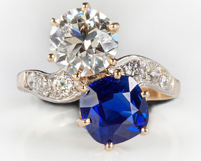 The top lot of the auction was this dazzling Kashmir sapphire and diamond ladies' vintage ring in a platinum and gold setting ($103,500).