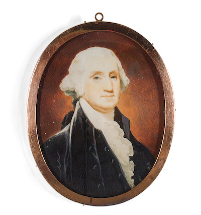 "Robert Field, The Meredith-Moreau-Pratt Miniature of President George Washington, 1801, watercolor, signed and dated  ""1801,"" 3 3/8 inches x 2 9/16 inches, Estimate:$60,000-80,000."
