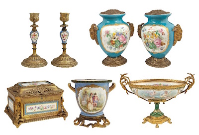 Sevres pieces will include a jewelry casket, a pair of candlesticks, a pair of vases, a cache pot, a center bowl on a stand and a shaped center bowl.