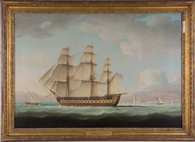 This oil on canvas marine rendering by Thomas Buttersworth (Br., 1768-1842) is expected to bring $20,000-$30,000.