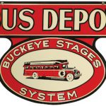 RARE BUCKEYE STAGES SYSTEM BUS DEPOT PORCLAIN SIGN, POSSIBLY THE ONLY ONE IN EXISTENCE, BRINGS $52,200 AT SHOWTIME AUCTION SERVICES