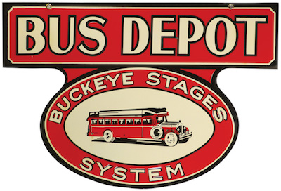 Buckeye Stages System deep shelved porcelain bus depot sign, 30 inches by 20 inches, boasting great color and graphics ($52,200).