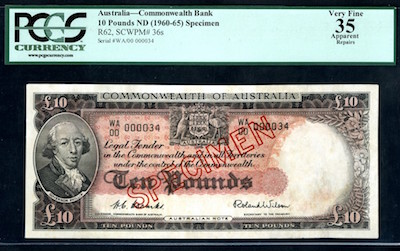 Commonwealth of Australia, ND (1954-1959) specimen banknote rarity.