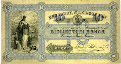 Bradbury Wilkinson & Company, circa 1880-1890's Italian advertising note.