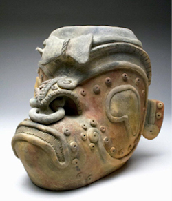 Jamacoaque polychrome jar formed as a jaguar, Ecuador, circa 500 BCE to 500 CE, est. $4,000-$6,000. Image courtesy Artemis Gallery