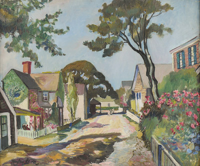 Oil on canvas by Hayley Lever (Australian/American, 1876-1958), titled New England Street Scene, signed lower left, housed in gilded frame (est . $2,000-$3,000).