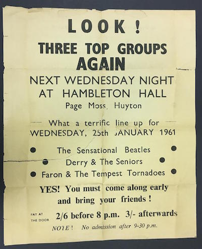 Exceedingly rare Beatles poster from 1961, advertising their debut appearance at Hambleton Hall in Huyton, England.