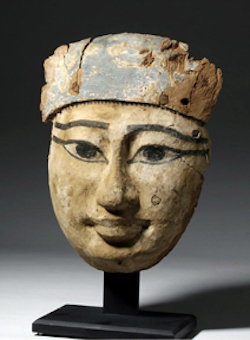 Exceptional Egyptian mummy mask, circa 750-500 BCE, carved and painted wood, est. $5,000-$7,000. Image courtesy of Artemis Gallery