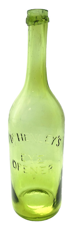 Dr. Henley's Eye Opener medicine bottle, circa 1873, in an electric yellow color that represents a departure from the usual four aqua variants known (est. $10,000-$20,000).