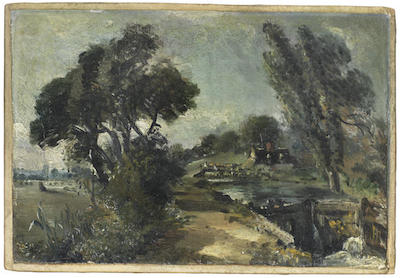 John Constable R.A. (East Bergholt 1776-1837 London) Flatford Lock on the Stour looking towards Bridge Cottage  oil on canvas 16.2 x 24cm (6 3/8 x 9 7/16in).