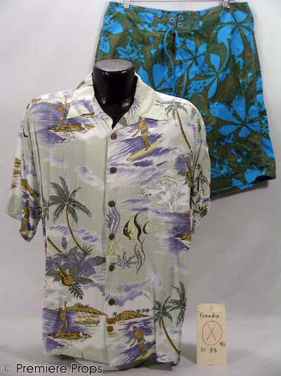 "SS Sage Hawaiian print button-front shirt and pants the singer-actor Justin Timberlake wore as ""Frankie"" in the film Alpha Dog (est. $800-$1,200)."