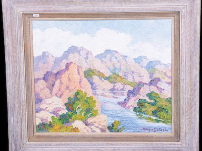 10 BIRGER SANDZEN ARTWORKS, PLUS FRENCH CAMEO, MINIATURE LAMPS, NIPPON, LOETZ, ROOKWOOD AND MORE WILL BE SOLD BY WOODY AUCTION, FEBRUARY 18th