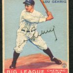 PAIR OF LOU GEHRIG GOUDEY SIGNED BASEBALL CARDS FROM 1933 AND 1934 BRING RECORD PRICES OF $37,950 AND $49,450 AT WEISS AUCTIONS, MARCH 4th