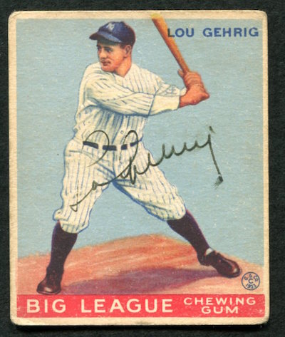 Pair Of Lou Gehrig Goudey Signed Baseball Cards From 1933