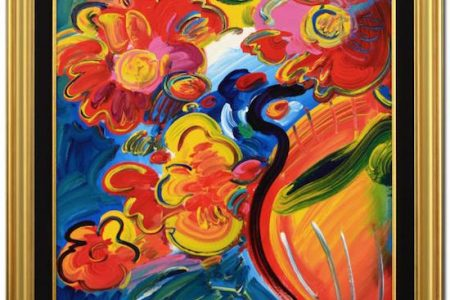 ORIGINAL ACRYLIC ON CANVAS PAINTING BY THE POP ART ICON PETER MAX, TITLED FLOWERS, IS IN QART.COM'S ONLINE ART AUCTION ENDING JUNE 4th