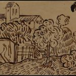 BROWN INK DRAWING ON HEAVY WOVE PAPER ATTRIBUTED TO VINCENT VAN GOGH BRINGS $12,000 IN WOODSHED ART AUCTION'S ONLINE-ONLY ART SALE