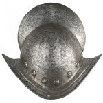 RARE 16th CENTURY SPANISH OR ITALIAN COMBED MORION HELMET REALIZES $7,675 AT AUCTION #77, HELD LIVE AND ONLINE BY MOHAWK ARMS, JUNE 16-17