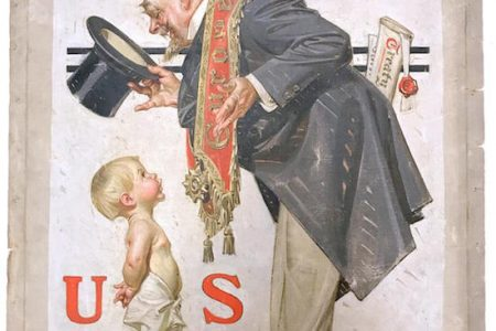 COVER ART FOR THE SATURDAY EVENING POST BY JOSEPH LEYENDECKER (Am., 1874-1951), DEC. 30, 1922 NEW YEAR'S ISSUE, WILL BE SOLD BY WEISS AUCTIONS