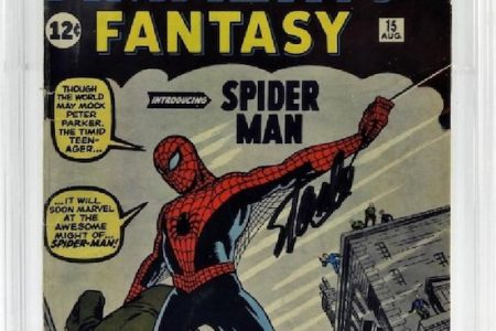COPY OF AMAZING FANTASY #15 – THE FIRST APPEARANCE OF SPIDER-MAN – SIGNED BY STAN LEE, REALIZES $13,750 AT BRUNEAU & CO.'S OCT. 28th SALE