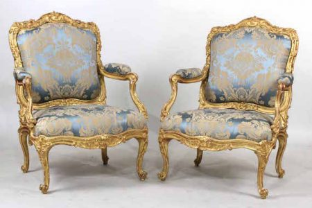 STUNNING PAIR OF FRENCH 18th CENTURY LOUIS XV GILTWOOD FAUTEUILS A LA REINE BRINGS $225,000 AT NYE & COMPANY'S MARCH 14th-15th ESTATES AUCTION