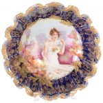 THREE OUTSTANDING RS PRUSSIA MARKED BOWLS WITH SEASONAL PORTRAIT SCENE DECOR IN THE COBALT BLUE COLOR REACH A COMBINED $33,000 AT WOODY AUCTION