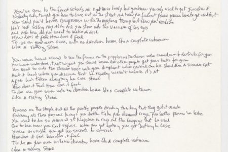 BOB DYLAN'S SIGNED, HANDWRITTEN LYRICS TO LIKE A ROLLING STONE WILL HEADLINE UNIVERSITY ARCHIVES ONLINE-ONLY AUCTION