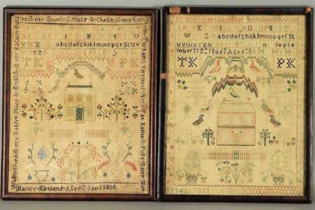 MATCHING PAIR OF SAMPLERS, BEAUTIFULLY EXECUTED BY OHIO CHILDREN IN 1806 AND 1808, SELLS AS ONE LOT FOR $10,000 AT BRUNEAU & CO