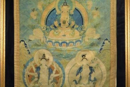 CHINESE QING DYNASTY OR EARLIER EMBROIDERED TAPESTRY SELLS FOR $12,500 IN BRUNEAU & CO. AUCTION