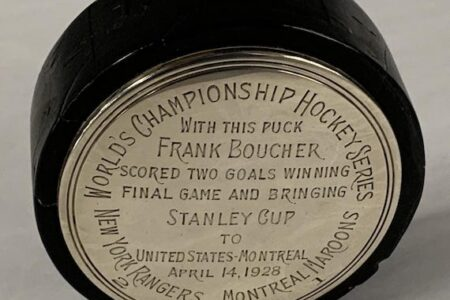 PUCK FROM THE STANLEY CUP FINAL GAME OF 1928 WON BY THE NEW YORK RANGERS, 2-1 SCORES BIG IN WEISS AUCTIONS SALE