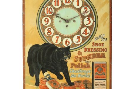 BLACK CAT SHOE DRESSING CLOCK RINGS UP $11,210 (CANADIAN) IN MILLER & MILLER'S ADVERTISING & BREWERIANA AUCTION