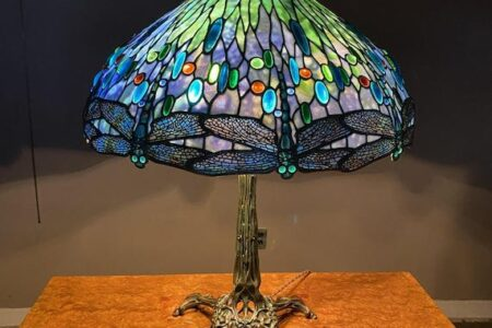 TIFFANY STUDIOS DRAGONFLY TABLE LAMP AND FURNITURE BY GEORGE NAKASHIMA FOR UNIQUES AND ANTIQUES AUCTION